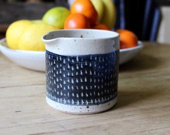 Modern Pourer, Speckle Stoneware Blue Jug, Sgraffito Fleck Design, Handthrown Rustic Pottery,