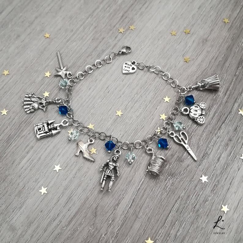 Cinderella Bracelet, Cinderella inspired Bracelet, pewter charms, stainless  steel chain, Swarovski blue crystals, wish dream slipper