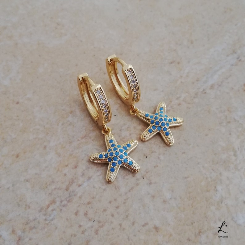 ce6fedb7f2824 Cubic Zirconia Gold Plated Turquoise StarFish Pave Hoops