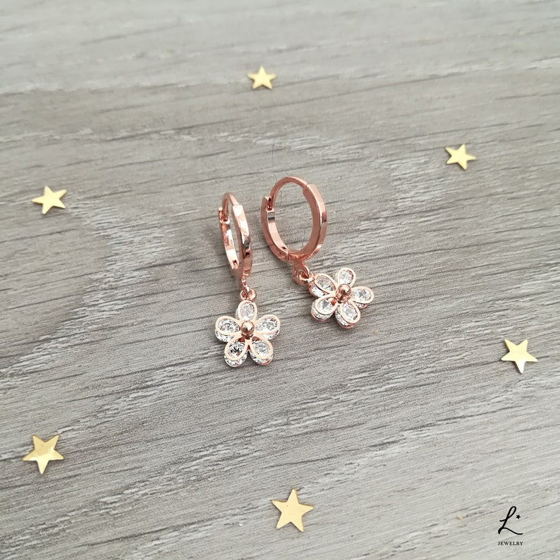 499feb245c731 Cubic Zirconia Rose Gold Plated Floral Micro Hoops
