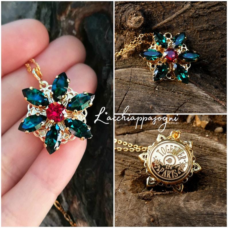 Anastasia ENGRAVED Necklace Together in Paris EMERALD M image 0