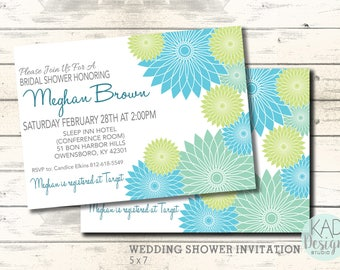 wedding shower invitation bridal shower invitation shower invite printable invitation floral invite diy wedding teal green invite
