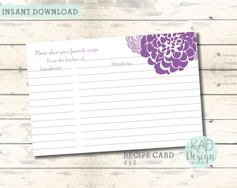 printable recipe card bridal shower wedding shower invitation shower card printable floral invite diy wedding purple