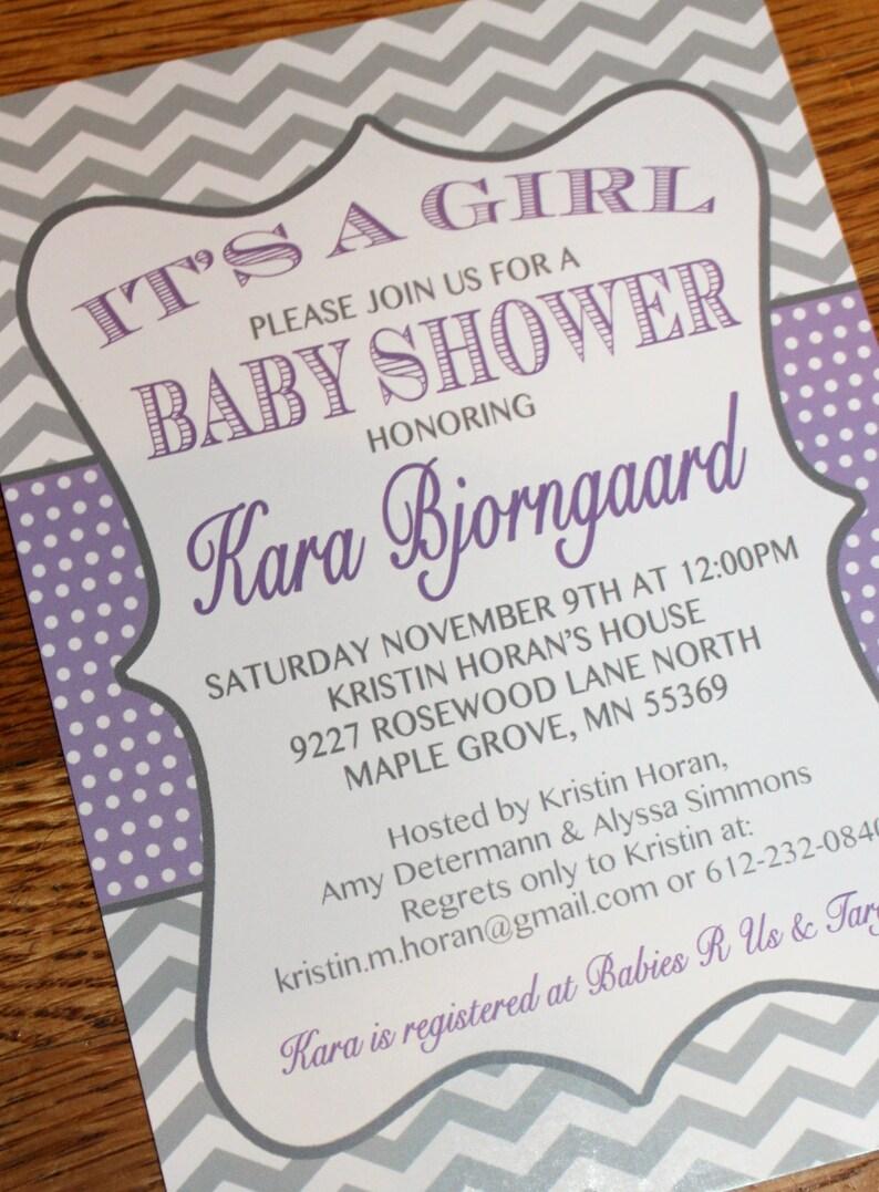 Shower Invite Purple Invite DIY Shower Baby Shower Invitation Baby Girl Shower Invite Printable Invitation PDF Baby Announcement
