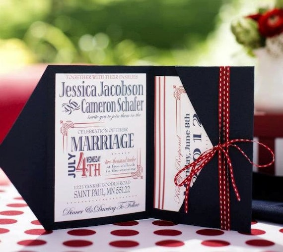 4th of july wedding invitation printable wedding invitation etsy