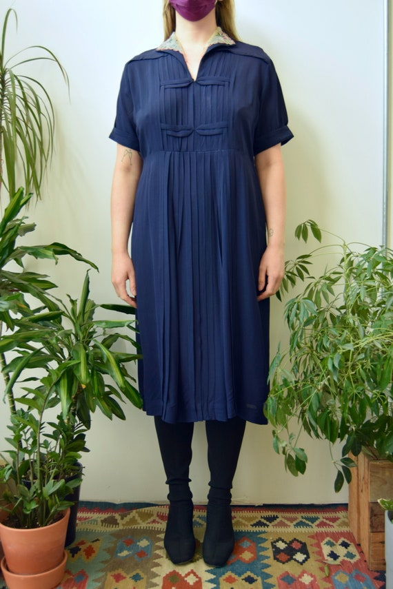 Vintage 1940's Navy Rayon Hankie Dress