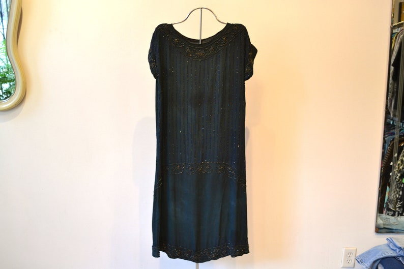 500328d2c 1920s Beaded Flapper Dress. Dropped Waist. Midnight Blue Silk. | Etsy