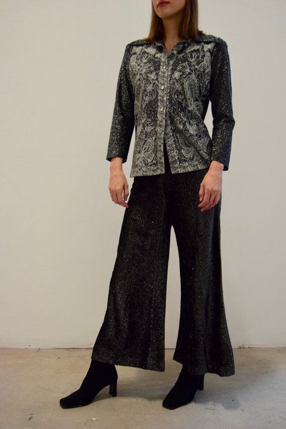 1970's Black and Silver Metallic Butterfly Pant Su