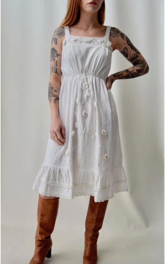 Vintage 1970s Embroidered Ruffle Dress