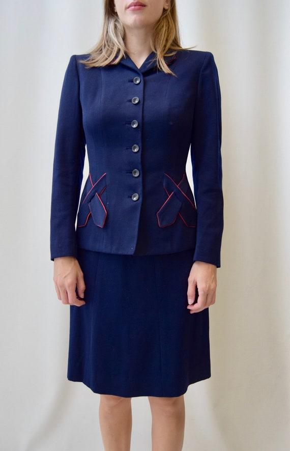 Vintage 1940s Jaunty Junior Women's Suit | Navy Bl