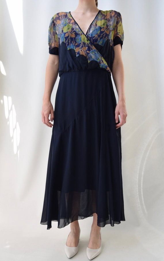1930's 1940's Navy Silk Dress With Chartreuse and