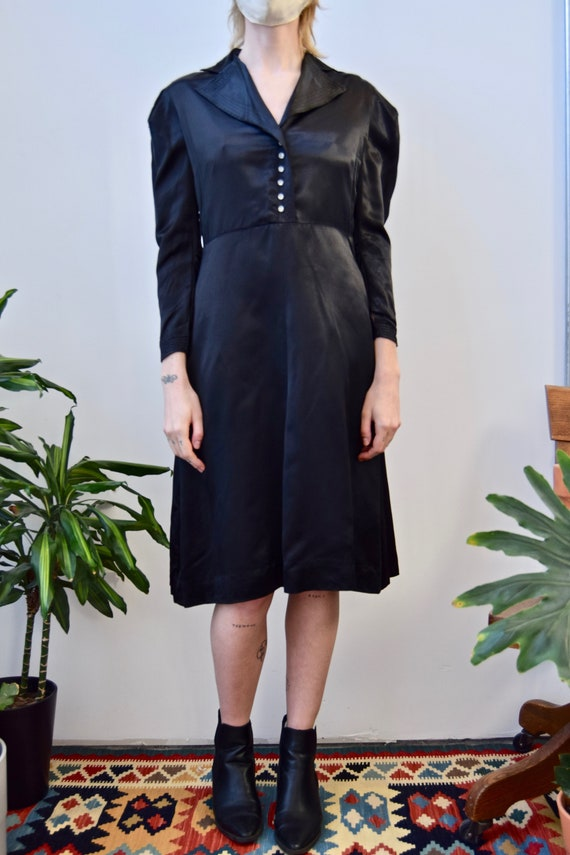 Vintage 1940's Satin Puff Sleeve Dress