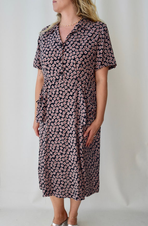 Vintage 40's Novelty Print Front Pocket Dress