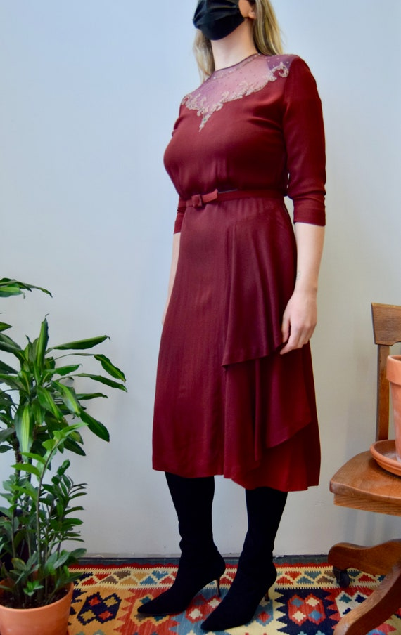 Vintage 1940's Maroon Beaded Crepe Rayon Dress