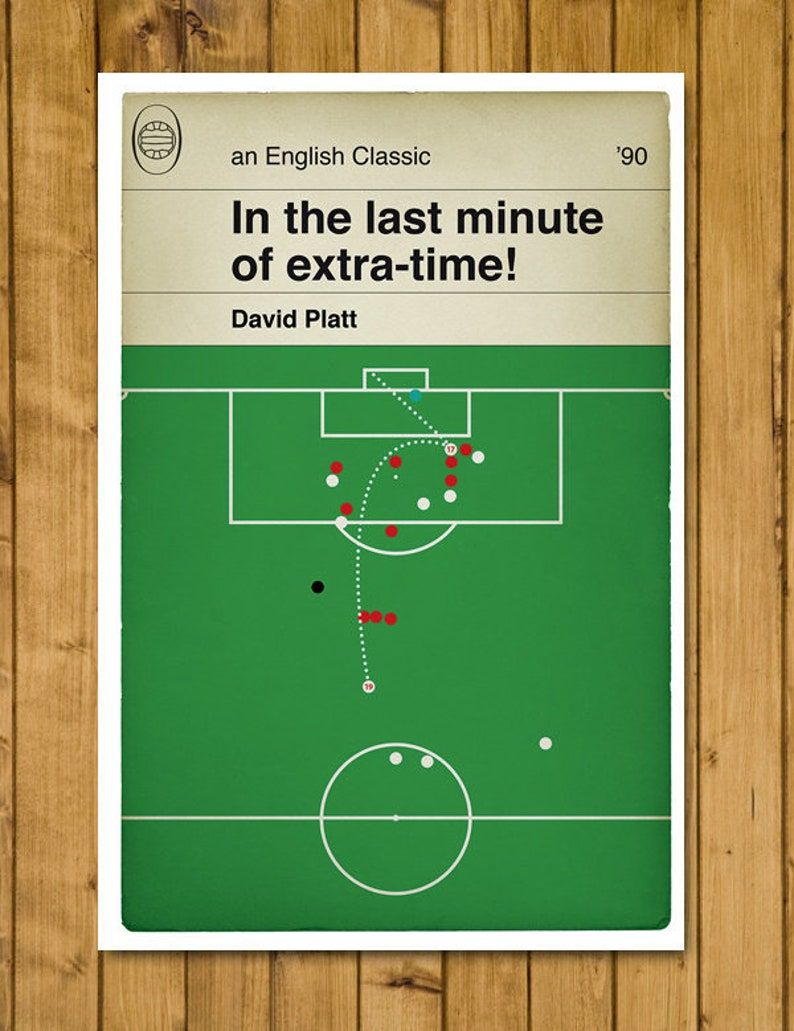 England winner v Belgium - David Platt Volley - 1990 World Cup - Italia 90  - Classic Book Cover Goal Poster - Football Gift (Various Sizes)