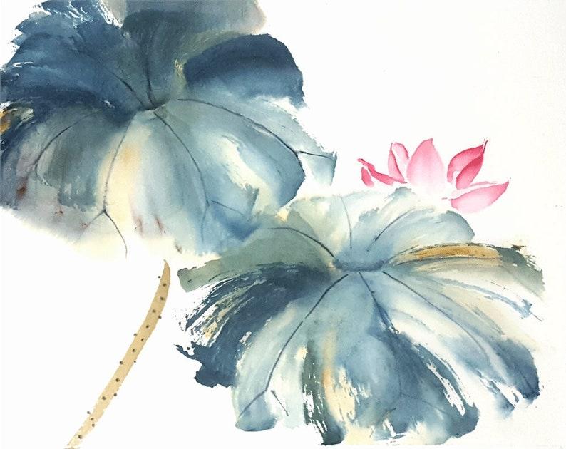 Spring Lotus 2 Original Chinese Brush Painting Etsy