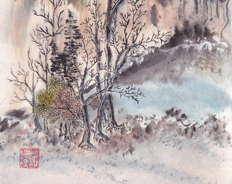 First Frost Winter Landscape Ink and Watercolor Painting Chinese Brush Artwork