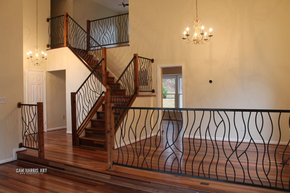 Wrought Iron Stair Railing Metal Stair Railing Custom Iron Etsy