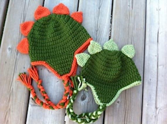 Dinosaur Hat Crochet Pattern - Newborn - Toddler - Child - Adult with  optional heart 91b62772878