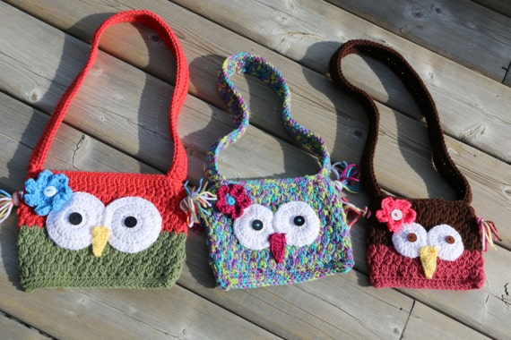 Owl Purse Crochet Pattern With Flower Pdf Pattern Long Strap Etsy