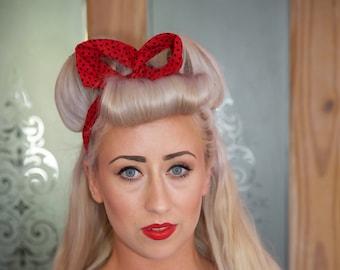 Red & Black Spot Headband