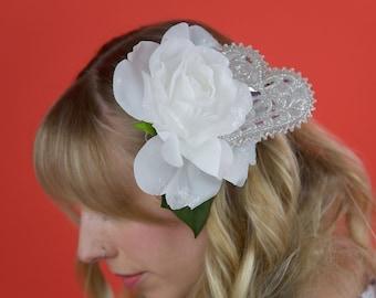 Large White Heart Rose Hair Accessory, Hair Rose, Hair Flower, Hair Accessory, Hair Clip, Facinator, Flower, Hair Pin, Rose, Glitter