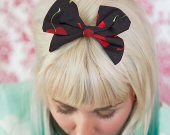 Small White Cherry Hair Bow