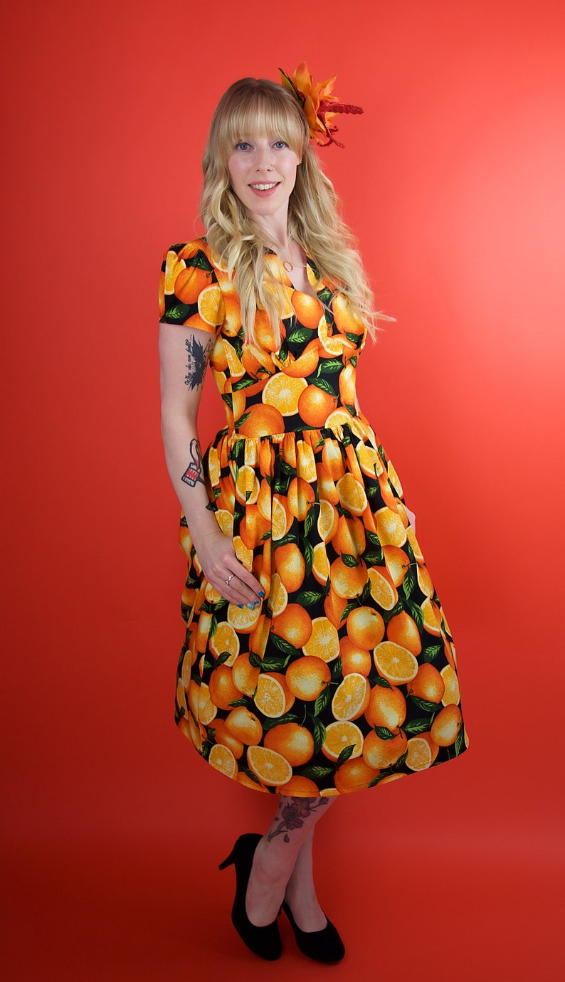 ce2a38d4887 Orange Dress, Oranges Dress, Vintage Dress, Vintage Clothing, Oranges,  Orange, Handmade Dress, 1950s Dress, Retro Dress, 50s Dress, Vintage