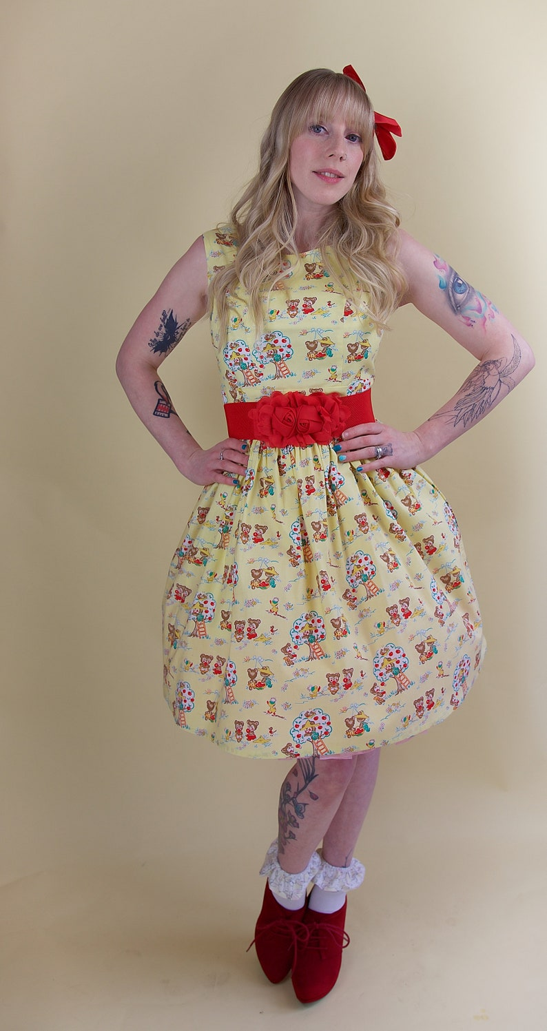 da85666021 SALE 1950 Style Yellow Bears Dress Vintage Dress 1950 Dress