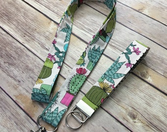 Stocking Stuffer 18 lanyard Cute Bagde Holder Pink Crystals Cute Succulents DISCOUNTED Crystals and Succulents