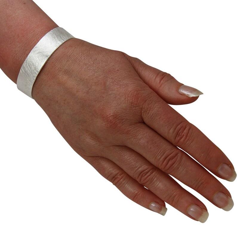 Sterling Silver 925 15 mm wide matt solid silver bracelet goldsmith work
