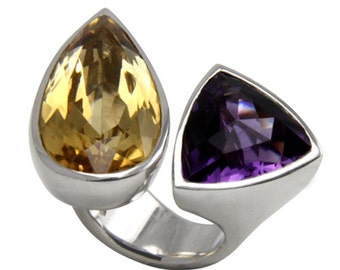 Silver ring with amethyst and citrine