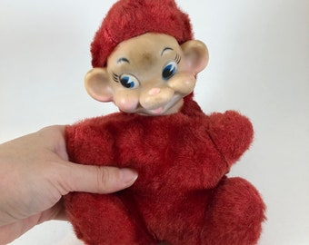 1a70c4ece3d2 Rubber Face plush toy Imp creepy big ears red furry body 1950s toy stuffed  animal with funny face Brownie Rushton toys kitschy vintage dolls