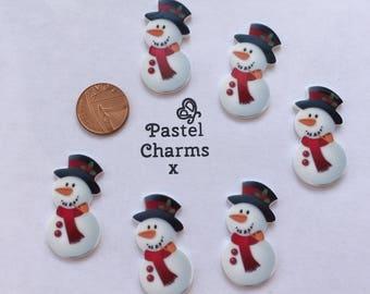 Pack of 5 christmas cute snowmen embellishments