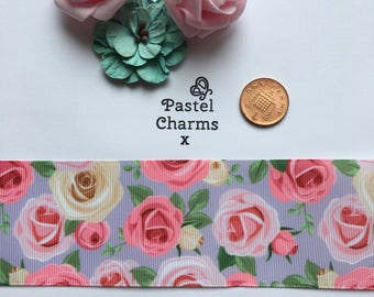 Pastel roses ribbon x  2 yards 50mm wide x