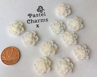 Pack of 10 pearlesent flowers embellishments 15mm