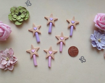 Clay Flatback fairy wand fairys fairies fairie wand embellishments deco topper pk of 3