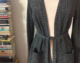 fa1638ee6e Black Silver Slinky Ribbed Metallic Waist Tie Open Cardigan Robe Sweater  Small
