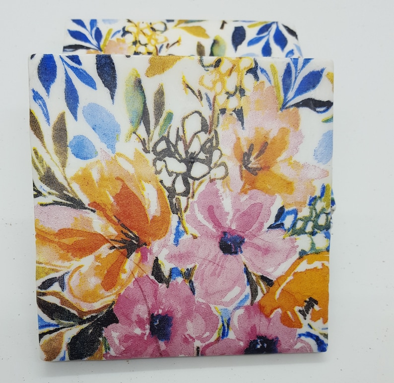 Floral Coasters Tile Coasters Pink and Coral Flowers Ceramic Tile Coasters