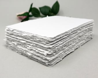 4x6 White handmade paper, recycled, deckle edge