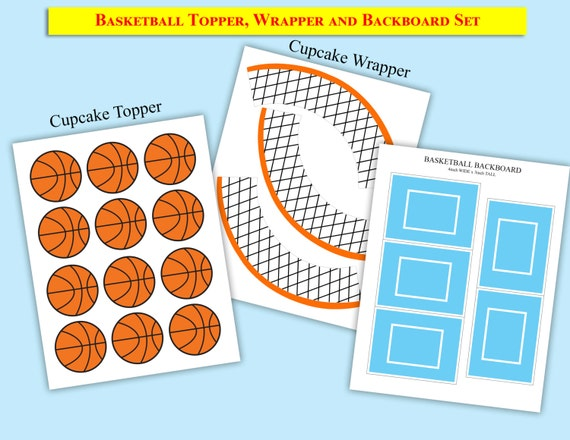 picture about Printable Basketball titled Printable Basketball Cupcake Topper,Wrapper BackBoard