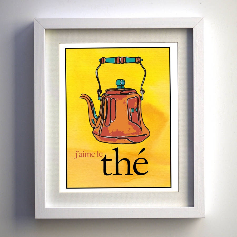 Yellow Kitchen Art: Yellow Kitchen Art. Tea French Art Print 5x7 Teapot