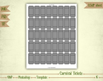 Carnival Tickets - Digital Collage Sheet Layered Template - (T016)