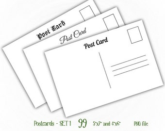 "Postcards Back - 4x6"" and 5x7"" - Digital Collage Sheet Layered Template - (T099)"