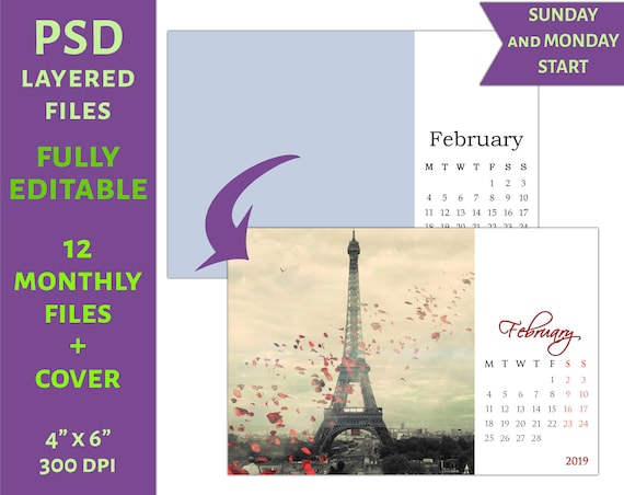 2019 Monthly Psd Calendar Template 4x6 C16 Etsy
