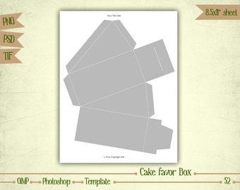 Cake Favor Box - Digital Collage Sheet Layered Template - (T052)