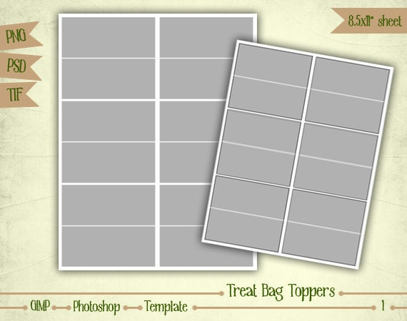 Bag Topper Template | Treat Bag Toppers Digital Collage Sheet Layered Template Etsy