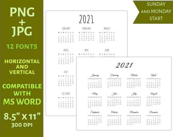 Maschera Calendario 2021 Png 2021 Modello di calendario 8.5x11 C23  e PNG | Etsy