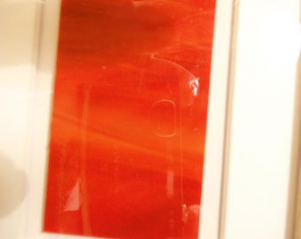 357-1 5 x 7 Multiple Red shades and Orange Opalescent Stain Glass Framed