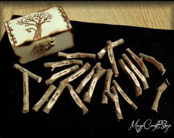 Celtic OGHAM RUNES set made with natural wood, handmade, with wooden box included customizable and black sheet